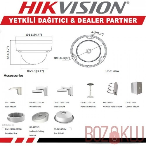 Haikon DS-2CD2121G0-I, 2MP Mini IR Dome Kamera