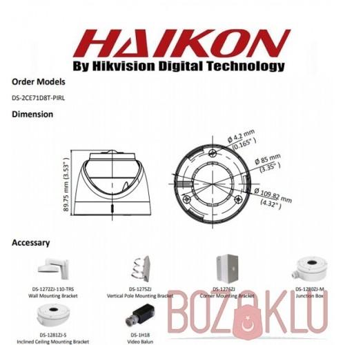 Haikon DS-2CE71D8T-PIRL, IR PIR Dome Kamera 1080p